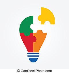 idea bulb jigsaw design. vector