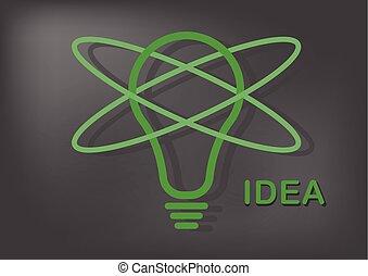 Idea bulb light icon on black background.