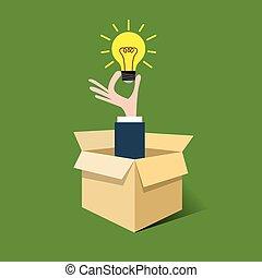 Idea bulb out of box - Flat style illustration of idea bulb ...