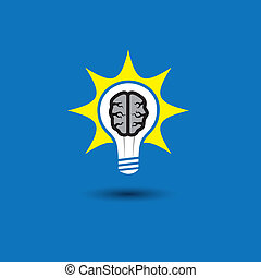 idea bulb with brain glowing with solutions - concept vector icon. This graphic also represents creative problem solving, genius mind, smart thinking, inventive mind, innovative man, abstract thought