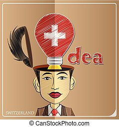 Idea bulb,made from the flag of Switzerland in  human head ,vector illustration