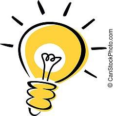 idea, bulbo, luce, logotype