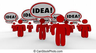 idea, burbuja del discurso, gente, compartir, creativo, imaginación