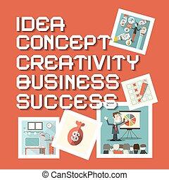 Idea Business Creativity Concept Success Titles with Flat Design Illustrations