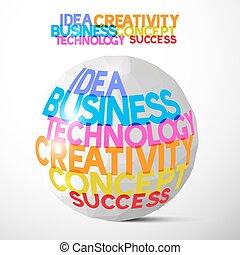Idea Business Technology Creativity Concept Success Paper Ball Vector Illustration