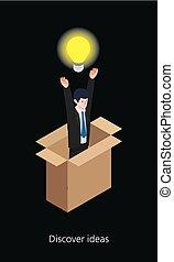 Idea businessman concept design 3d isometric vector illustration