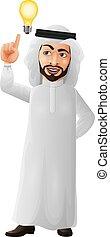 idea, cartone animato, uomo affari, pensare, detenere, arabo