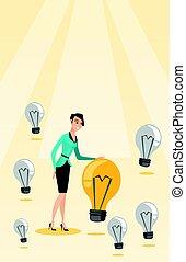 idea., caucasian mulher, negócio, tendo