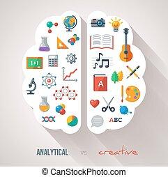 idea., cerveau, créatif