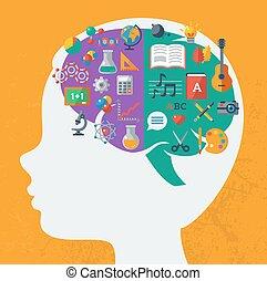 idea., cervello, creativo