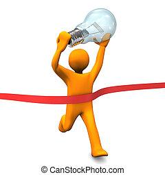 Orange cartoon character runs with big bulb. White background.