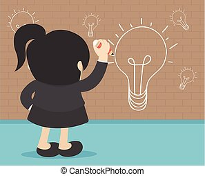 idea concept Back view of business woman writing idea and light bulb on wall