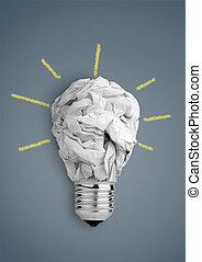 Idea concept, bulb with crumpled paper