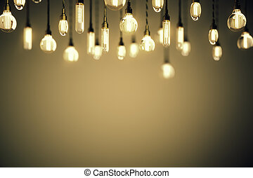 Idea concept bulbs brown background