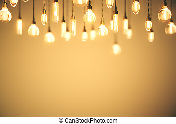 Idea concept bulbs orange background