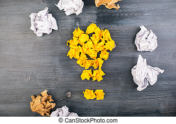 Idea concept crumpled paper