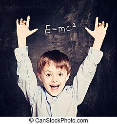 Idea Concept. Cute School Child Boy
