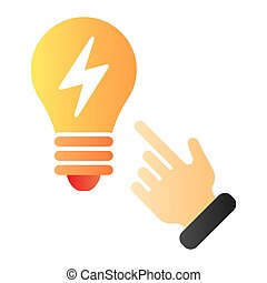 Idea concept flat icon. Light bulb and hand color icons in trendy flat style. Solution gradient style design, designed for web and app. Eps 10.