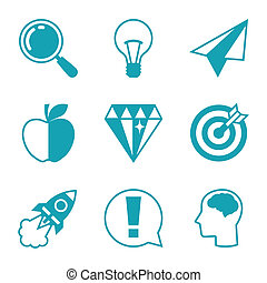 Idea concept icons in flat design style.
