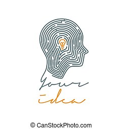 Idea concept illustration. Maze in the shape of a human. Vector illustration on white background