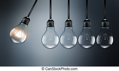Idea concept image with light bulbs, perpetual Motion...