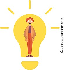 Idea concept, lamp head businessman have got an idea His head full of great light. Idea Concept. Aha moment. The guy is standing in front of a white background. Young smiling nerd bulb flat editable. Person idea and light bulb vector illustration flat icon eps10