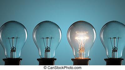 Idea concept. Light bulbs on blue background