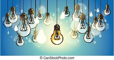 Idea concept light bulbs vector illustration with single one...