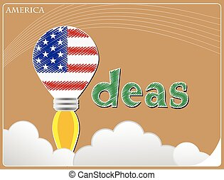 Idea concept made from the flag of America, conceptual vector illustration