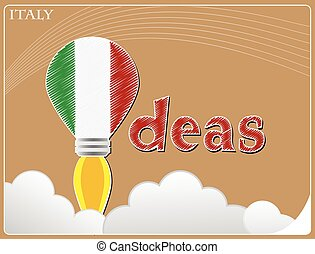 Idea concept made from the flag of Italy, conceptual vector illustration