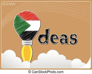 Idea concept made from the flag of Sudan, conceptual vector illustration