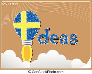 Idea concept made from the flag of Sweden, conceptual vector illustration