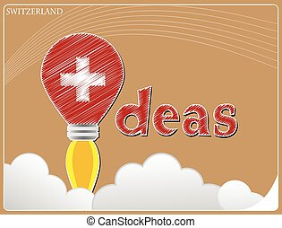 Idea concept made from the flag of Switzerland, conceptual vector illustration