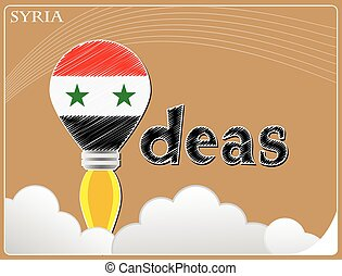 Idea concept made from the flag of Syria, conceptual vector illustration