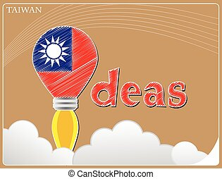 Idea concept made from the flag of Taiwan, conceptual vector illustration