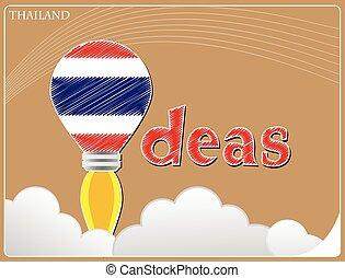 Idea concept made from the flag of Thailand, conceptual vector illustration