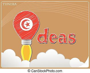 Idea concept made from the flag of Tunisia, conceptual vector illustration