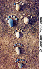 idea concept, pebble, foot step - Amazing concept from...