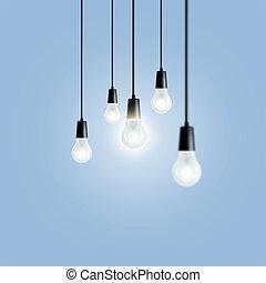 Idea concept. Light bulbs on blue background.