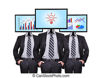 idea concept - Three businessmen with a monitor for a head,...