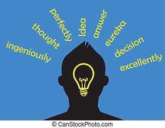 Idea concept. Thinking man silhouette