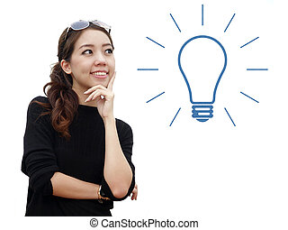 idea concept with asian woman isolate on white background
