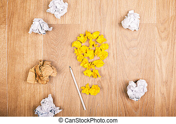 Idea concept with crumpled paper