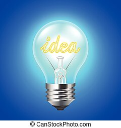 Idea concept with light bulb on blue background