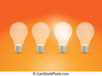 Idea concept with row of light bulbs