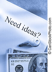 Idea conception with key and money