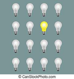 Idea concept.Light bulbs with one bright light bulb.