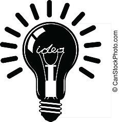 idea, conceptos, bombilla