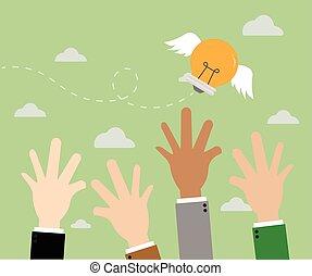 idea., concetto, affari, concorrenza, illustration.