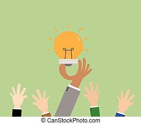 idea., concetto, affari, concorrenza, illustrazione